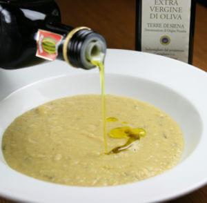 ひよこ豆のスープにオリーブオイル