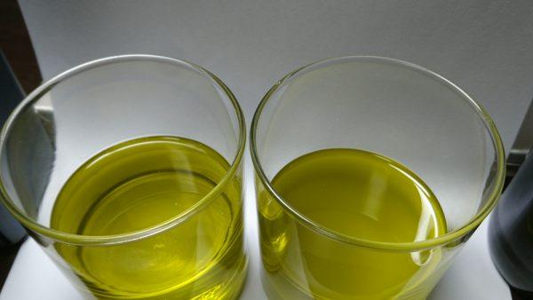 無濾過と濾過されたオリーブオイル